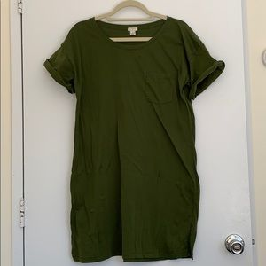 Olive Green J. Crew T Shirt Dress